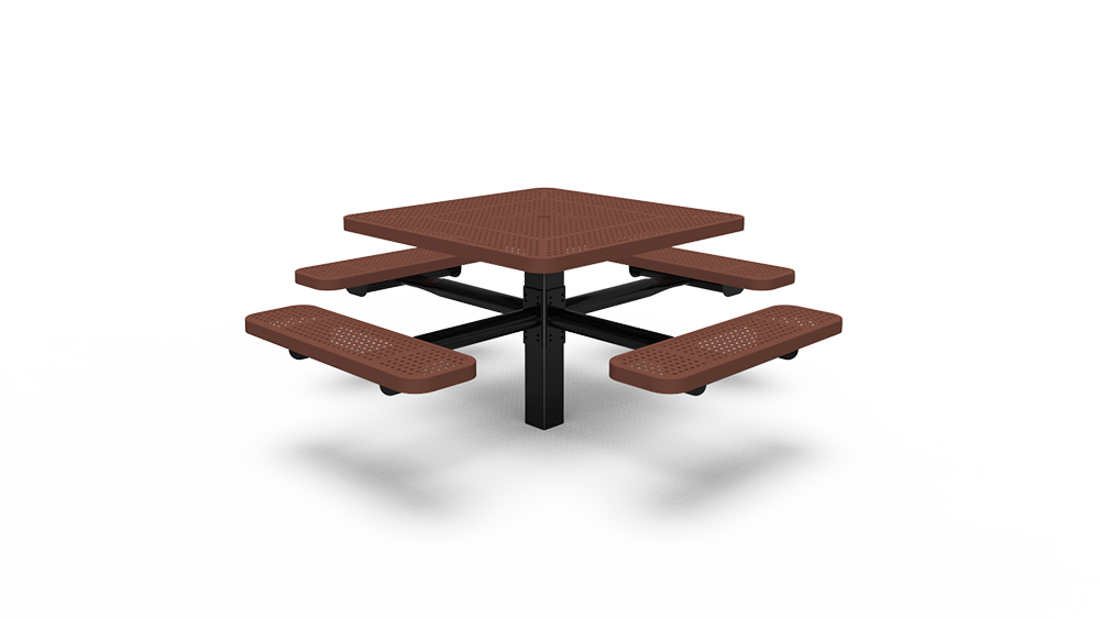 """40"""" Square Table with Four Seats - Perforated - In-ground (LTPQ215Q)"""