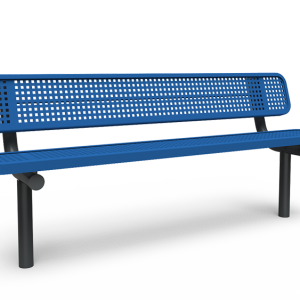 6' Bench with Back - Perforated - In-ground (LTPQ303Q)
