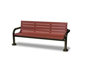 6' Recycled Plastic Contemporary Bench with Back - In-ground (LTGV430G)