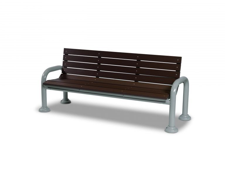 6' Recycled Plastic Contemporary Bench with Back - Surface Mount (LTGV420G)