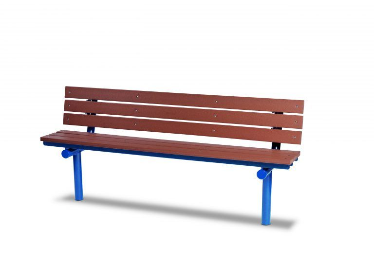 6' Recycled Plastic Plank Bench with Back - In-ground (LTGV303G)