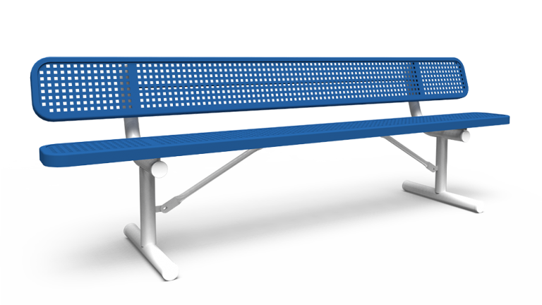 8' Bench with Back - Perforated - Portable (LTPQ312Q)