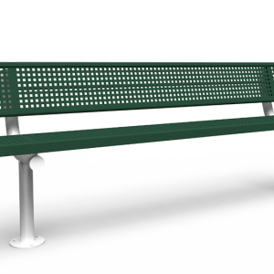 8' Bench with Back - Perforated - Surface Mount (LTPQ318Q)