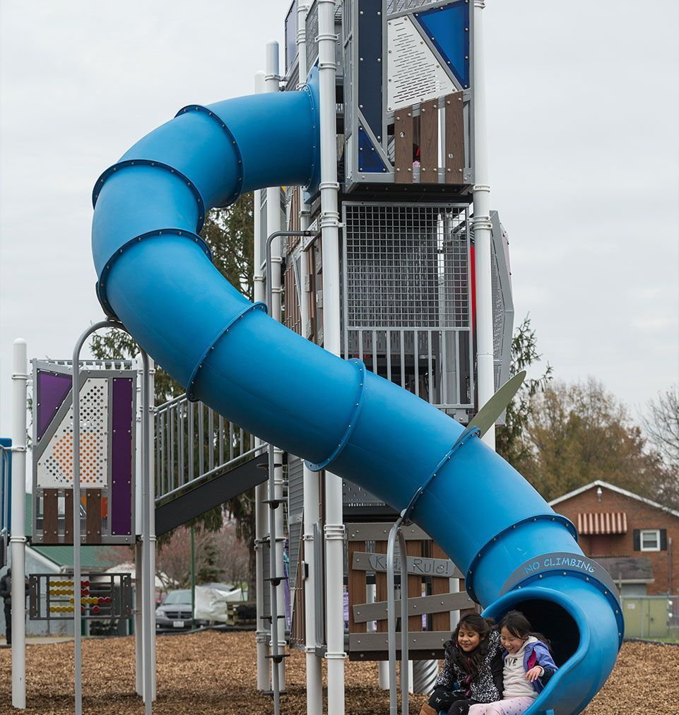 Blue commercial playground slide