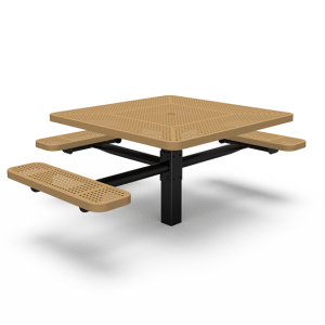 "ADA 46"" Square Table with Three Seats - Perforated - In-ground (LTPQ235Q)"