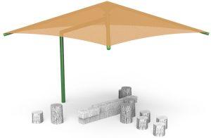 Single Post Pyramid Cantilever Play Shade (LTPSP021)
