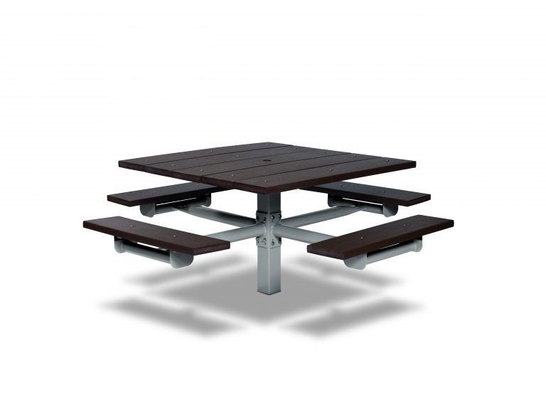 Square Recycled Plastic Table with Four Seats - In-ground (LTGV230G)
