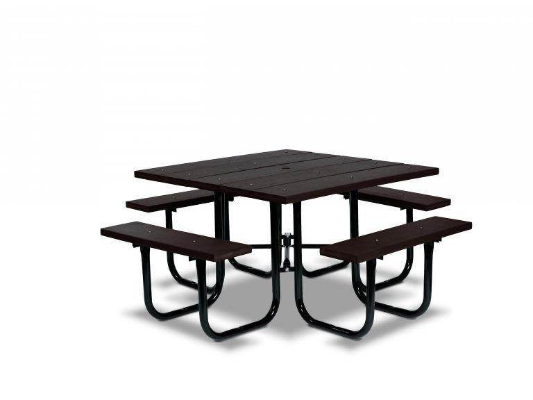 Square Recycled Plastic Table with Four Seats - Portable (LTGV140G)