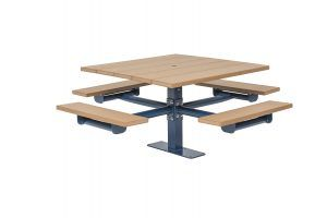 Square Recycled Plastic Table with Four Seats - Surface Mount (LTGV229G)