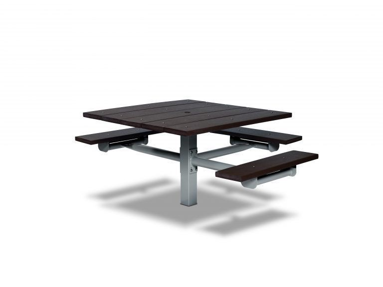 Square Recycled Plastic Table with Three Seats - In-ground (LTGV235G)