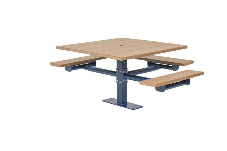 Square Recycled Plastic Table with Three Seats - Surface Mount (LTGV234G)