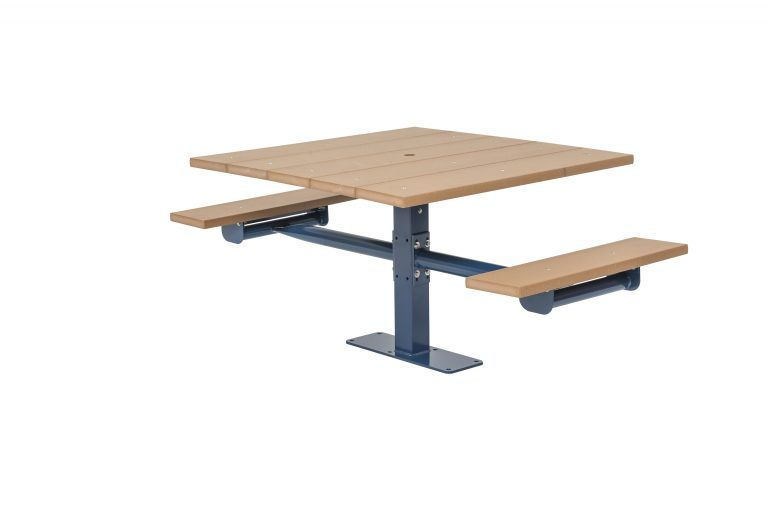 Square Recycled Plastic Table with Two Seats - In-ground (LTGV240G)