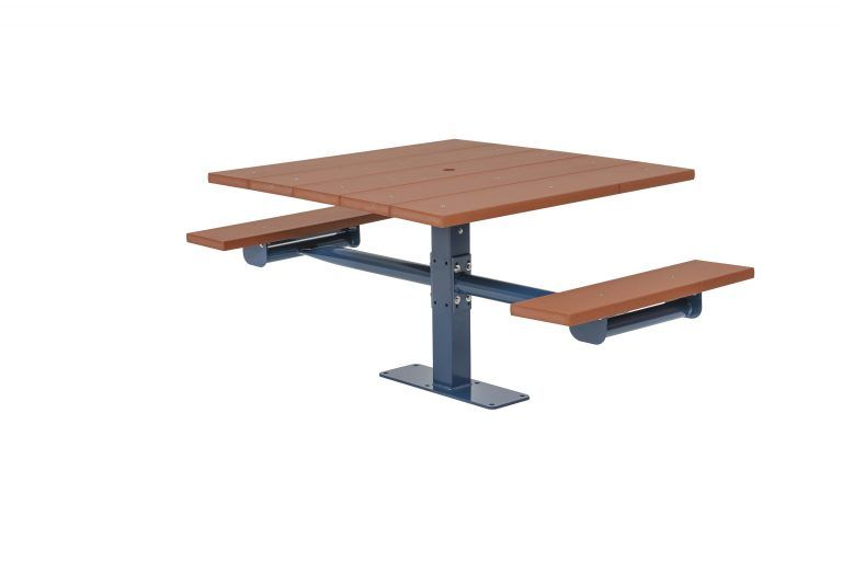 Square Recycled Plastic Table with Two Seats - Surface Mount (LTGV245G)