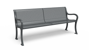 Traditional 6' Bench with Back - Perforated - Portable/Surface Mount (LTPQC42Q)