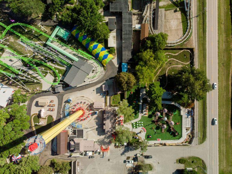 Bird's eye view of amusement park