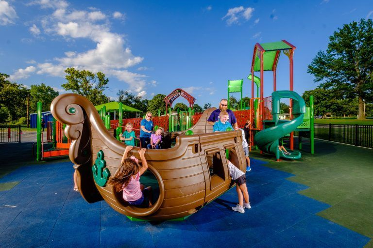 kids playing on pirate ship at billys playground