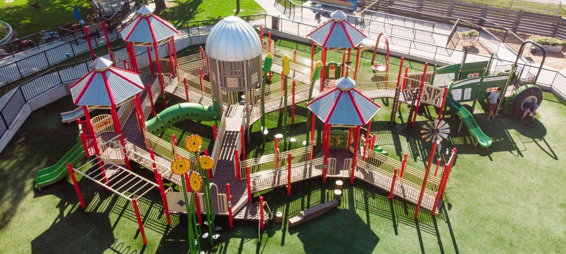Aerial view of farmland playground equipment