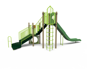 green long slide with playground side view KB20-72379 (KB2072379)