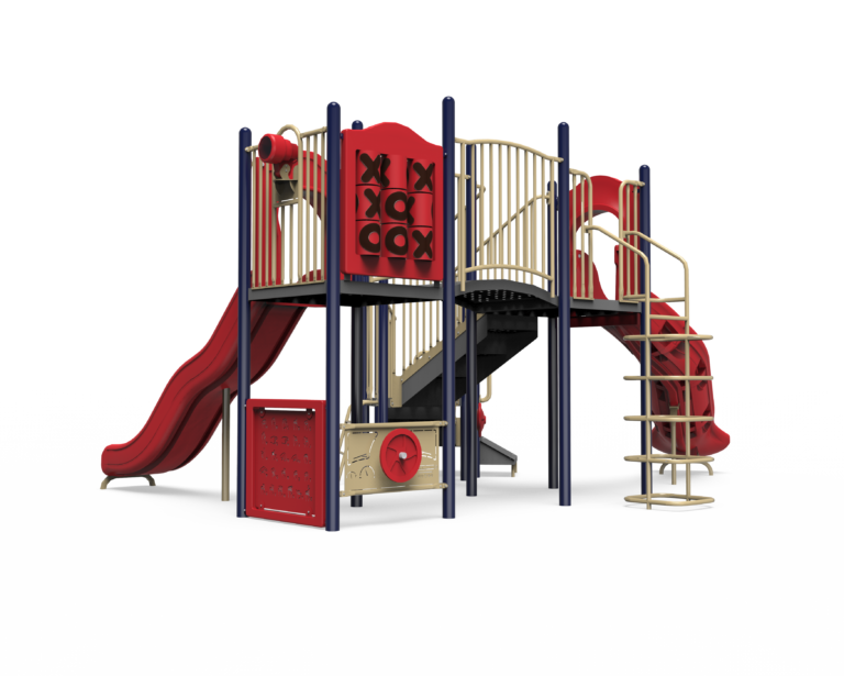 red and blue back of playground