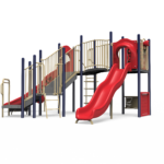 red and blue playground equipment