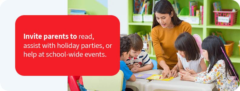 Invite parents to participate in the classroom